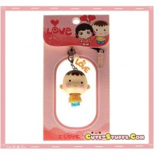 Kawaii Boy Enamel Bobble Head Phone Charm w/ Plug! Rare!