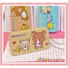 Kawaii Rilakkuma Tin Keychain Brown Heart Hankie