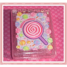 Kawaii Pink Lollipop Large Contact Lens Case