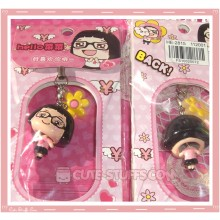 Kawaii CaiCai Enamel Bobble Head Phone Charm! Rare!