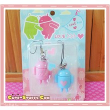 Kawaii Rare Android Robot Phone Strap Set! Pink & Blue!