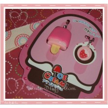Kawaii Rare Flashing Ice Cream Pop Phone Charm w/ Wrist strap! Strawberry!