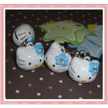 Kawaii Hello Kitty Brass Bell - Blue w/ Rhinestone