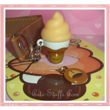 Kawaii Rare Flashing Ice Cream Cone Phone Charm w/ Wrist strap! Cocoa!