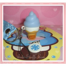 Kawaii Rare Flashing Ice Cream Cone Phone Charm w/ Wrist strap! Blueberry!
