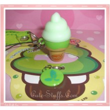 Kawaii Rare Flashing Ice Cream Cone Phone Charm w/ Wrist strap! Spearmint!