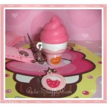 Kawaii Rare Flashing Ice Cream Cone Phone Charm w/ Wrist strap! Strawberry!