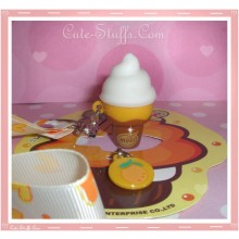 Kawaii Rare Flashing Ice Cream Cone Phone Charm w/ Wrist strap! Orange!
