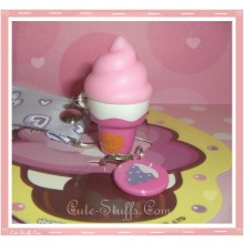 Kawaii Rare Flashing Ice Cream Cone Phone Charm w/ Wrist strap! Grape!