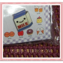 Kawaii Blue Milk Carton Pin Badge