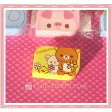Kawaii Opaque Travel Lens Case or Trinket Box! - Rilakkuma w/ Flowers Bright Yellow