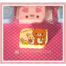 Kawaii Opaque Travel Lens Case or Trinket Box! - Rilakkuma w/ Flowers Light Yellow