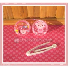 Kawaii Pink Bear Single Contact Lens Case