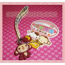 Kawaii Unique Monkey w/ Banana Phone Strap w/ Wrist Strap!