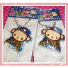 Kawaii Momo Monkey Keychain Phone Strap - Blue