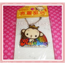 Kawaii Momo Monkey Keychain Phone Strap - Rainbow