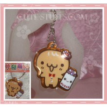 Kawaii Unique Glitter Puffy Cookie Man w/ sugar Phone Strap! Rare!
