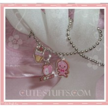 Kawaii 3pc Cute Gingerbread Man Necklace - Pink