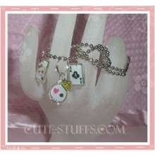 Kawaii 3pc Cute Goth Emo Skull & Cards Necklace