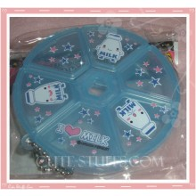 Kawaii Blue Milk Pill or Trinket Box Round
