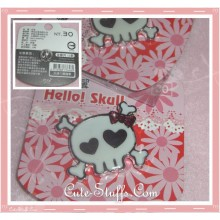 Kawaii Cross Bone Girl Skull w/ Bow Pin Badge