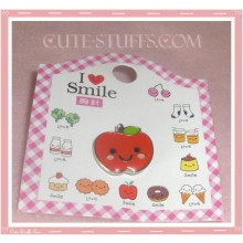 Kawaii Apple Pin Badge