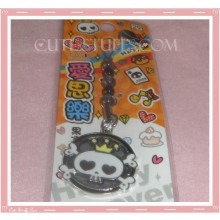 Kawaii Unique Skull Wanted Enamel Phone Strap! Rare!