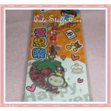 Kawaii Unique Monkey Strawberry Enamel Phone Strap! Rare!