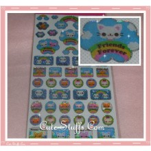 Kawaii Kitty Glitter Sticker Set