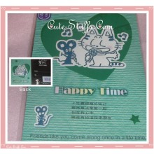 Kawaii Green Cat & Mouse Post Card