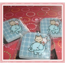 Kawaii Blue Happy Go Lucky Clip - Bunny Cat & Elephant