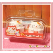 Kawaii Lucky Cat Series Capsule Contact Lense Case! - White