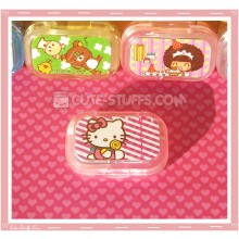 Kawaii Sparkle Travel Lens Case or Trinket Box! - Hello Kitty Lollipop Stripes