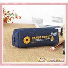 Kawaii Colorful Denim Pencil Case - Orange Donut