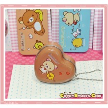 Kawaii Rilakkuma Tin Keychain Brown Heart Holding Hands