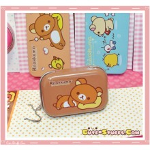 Kawaii Rilakkuma Tin Keychain Brown Laying Down