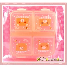 Kawaii Orange Travel Pill Case Or Trinket Box -Bear
