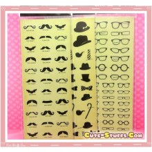 Kawaii Transslucent Mustache - Top Hat - Glasses Stickers! U Choose! Rare!