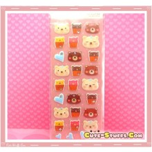 Kawaii 28pc Animal Collection Puffy 3D Sticker Set! Cupcake Bear