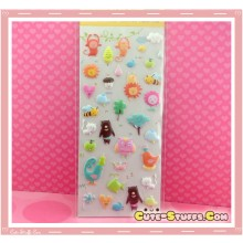Kawaii Animal Embossed Sticker Set! Rare!