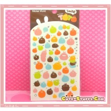 Kawaii Unique Fat Rabbit Translucent Sticker Set! Rare!