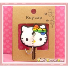Kawaii Hello Kitty Rainbow Bow Key Cover