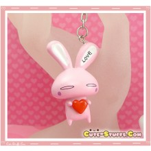 Kawaii Large Love Rabbit Key chain or Backpack Charm! Pink Standing