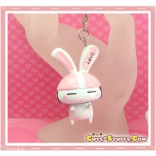Kawaii Large Love Rabbit Key chain or Backpack Charm! Pink Helmet