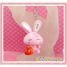 Kawaii Large Love Rabbit Key chain or Backpack Charm! Pink Sitting