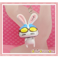 Kawaii Large Love Rabbit Key chain or Backpack Charm! Blue Helmet