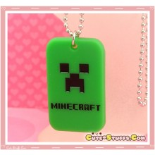 Kawaii Unique Minecraft Creeper Dogtag Necklace  - Classic Green