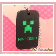 Kawaii Unique Minecraft Creeper Dogtag Necklace  - Black