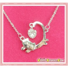 Cute Kawaii Gem Unique Cat Necklace! - Silver