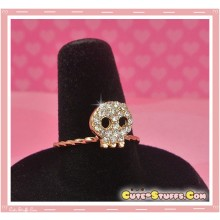 Cute Kawaii Gem Skull Ring! - Gold